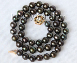 """luster 17"""" 10mm natural round peacock black pearls necklace j9948"""