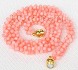 "NEW Choker 16"" 9mm bone shape pink coral necklace magnet clasp j9768"