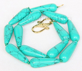 """Imitation 17"""" 10*30mm drip green turquoise necklace j9755"""