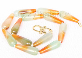 """strand 17"""" 10*30mm faceted drip green gray yellow agate necklace j9754"""