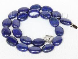 """natural 17"""" 13X18mm ellipse lapis lazuli necklace 18KGP clasp j9736"""