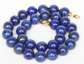 """natural 18"""" 14mm round lapis lazuli necklace filled gold clasp j9735"""