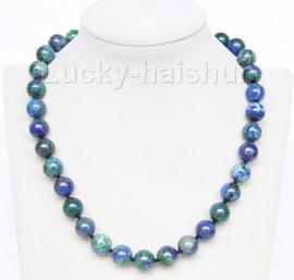 "natural 18"" 12mm round lapis lazuli malachite necklace filled gold clasp j9734"