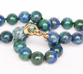 "natural 18"" 13.5mm round lapis lazuli malachite necklace filled gold clasp j9733"