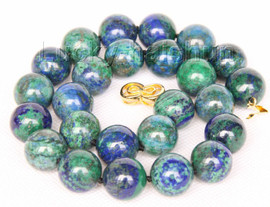 "natural 18"" 16mm round lapis lazuli malachite necklace filled gold clasp j9732"