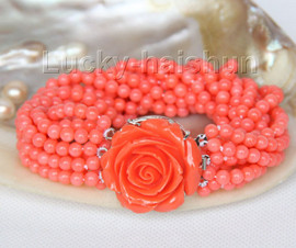 """AAA 8"""" 10row round pink coral beads bracelet Imitation pink coral clasp j9606"""