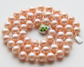 """AAA luster 18"""" 9mm pink round pearls necklace ladybug 925 silver clasp j9536"""