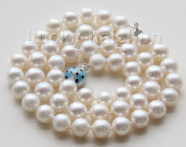"""AAA luster 18"""" 9mm white round pearls necklace ladybug 925 silver clasp j9535"""