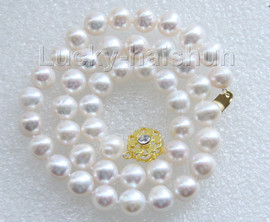 """luster 17"""" 10mm natural round white freshwater pearls necklace j9469"""
