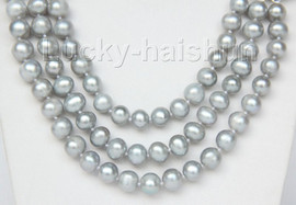 """16"""" 3 Strand 9mm gray FW pearls necklace cameo seashell clasp j9376"""