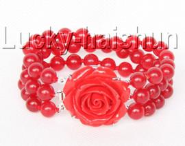 "Genuine 8"" 8mm 3row round red jade bead bracelet j9336"