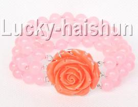"Genuine 8"" 8mm 3row round pink jade bead necklace j9335"