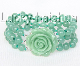"Genuine 8"" 8mm 3row round green jade bead bracelet j9333"
