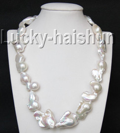 """AAA luster 18"""" 32mm white Reborn keshi pearls necklace filled gold clasp j9308"""
