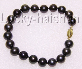 "natural 8"" 10mm round Tahitian-black pearls bracelet 14K clasp j9210"
