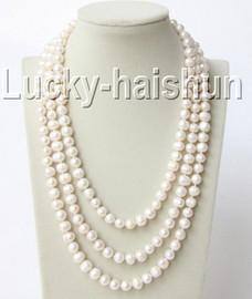 """baroque 62"""" 10mm white freshwater pearls necklace j9200"""