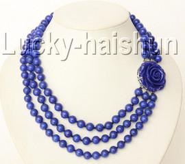 """17"""" 3row 8mm round lapis lazuli necklace 18KGP j9180"""