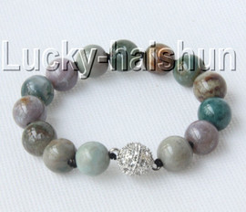 """AAA natural 8"""" 12mm round Multicolor jade bracelet magnet clasp j9133"""
