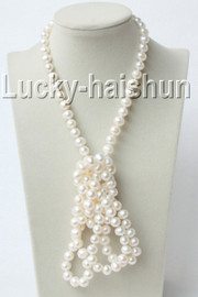 """luster 50"""" 10mm round white freshwater pearls necklace j9121"""