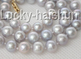 """natural 17"""" 9mm Gray freshwater pearls necklace 14K clasp j9055"""