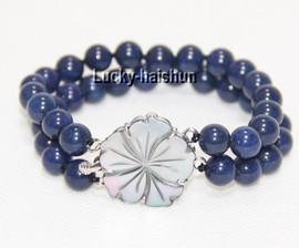 "AAA natural 7.5"" 2 Strand 8mm round lapis lazuli bracelet j8955"