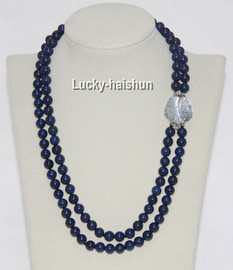 """AAA natural 19"""" 2 Strand 8mm round lapis lazuli necklace j8954"""