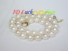 """18"""" natural 12mm round white Freshwater pearls necklace filled gold j8763"""