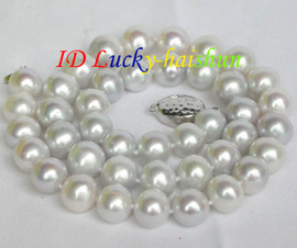 """natural 18"""" 11mm round white pearls necklace 925 silver clasp j8723"""