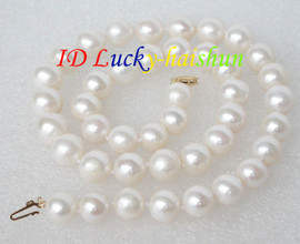"""natural 17"""" 11mm round white pearls necklace 14K gold clasp j8710"""