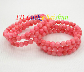 Genuine 3row round pink coral beads Bracelet elasticity j8681
