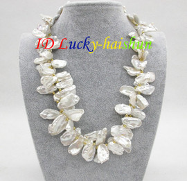 """AAA 20"""" 29mm baroque white REBORN KESHI pearls necklace j8673"""
