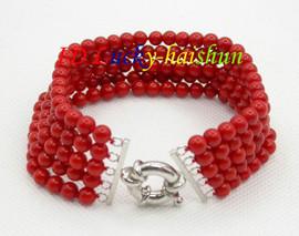 "Genuine 5row 8"" round red coral beads Bracelet j8672"