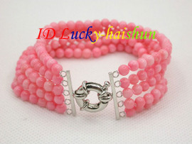 "Genuine 5row 8"" round pink coral beads Bracelet j8671"
