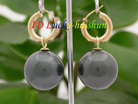 AAA Dangle big 20mm Tahitian black round sea shell pearl Earrings 14K hoop j8665