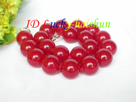 """AAA natural 18"""" 20mm round red jade bead necklace filled gold clasp j8653"""