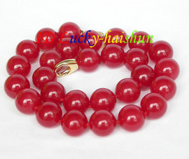 """AAA natural 17.5"""" 14mm round red jade bead necklace filled gold clasp j8630"""