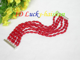 "Genuine 6row 5X9mm 8"" rice red coral beads bracelet 925s clasp j8622"