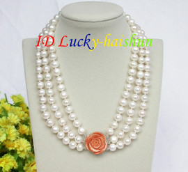 """natural 17"""" 10mm 3row round white pearls necklace 925 silver clasp j8618"""