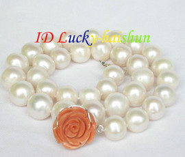 """natural 18"""" 14mm round white pearls necklace 925 silver coral clasp j8617"""
