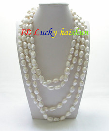 """length 78"""" 12mm baroque white freshwater pearls necklace j8605"""
