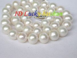 """18"""" 11mm natural round white freshwater pearls necklace 925s clasp j8325"""