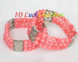 stretchy! 3row 2piece pink round coral bracelet springy J8304