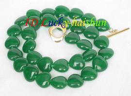 10mm heart-shape green jade beads necklace j8300