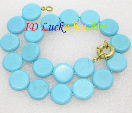 Stunning! 20mm round coin blue turquoise necklace J8136