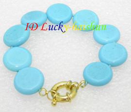 Amazing! 20mm round coin blue turquoise bracelet J8131