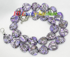 """18"""" 15X16mm heart-shaped lavender turquoise necklace j8116"""