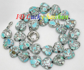 """18"""" 15X16mm heart-shaped sky-blue turquoise necklace j8115"""