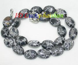 "Amazing 18"" 13X18mm Oval ellipse black turquoise necklace j8109"