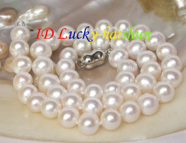 """luster 17"""" 10mm round white freshwater pearls necklace 18KGP j8066"""