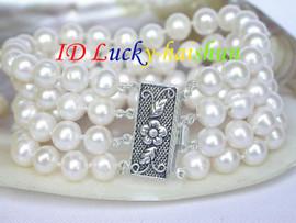 "Genuine 8"" 4row 8mm round white pearls bracelet 925 silver clasp j7912"